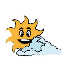 sun and cloud cartoon mascot drawn vector image