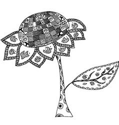 Sunflower in doodle style vector