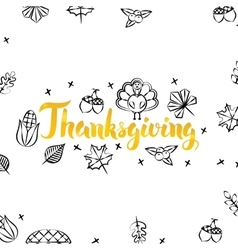 Thanksgiving Gold Greeting Postcard vector image