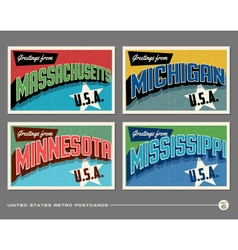 United states vintage postcards vector