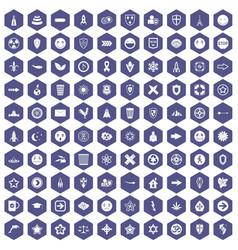 100 emblem icons hexagon purple vector
