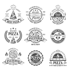 Pizzeria black white emblems vector