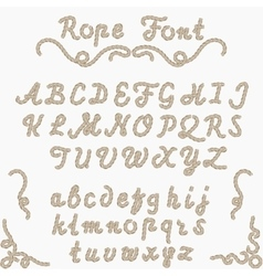 Rope font nautical hand written letters vector