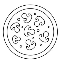 Pizza with mushrooms icon outline style vector