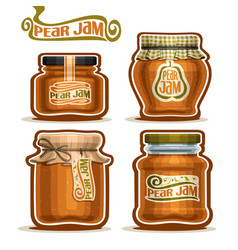 pear jam in glass jars vector image