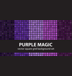square pattern set purple magic seamless tile vector image