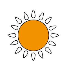 color silhouette image cartoon yellow sun with vector image
