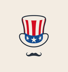 uncle sams symbol hat with mustache vector image