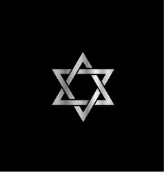 Silver star of david- jewish vector