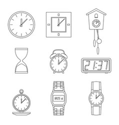 Clock line icons vector
