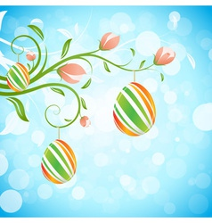 Easter background with decorated eggs vector