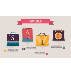 Summer sale infographics with colorful shopping vector image