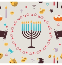 Pattern with hanukkah symbols greeting card vector