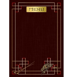Asian menu with ornament and dragon vector