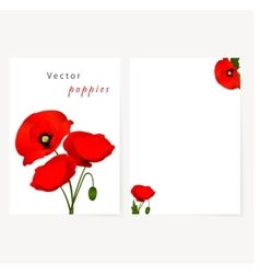 Template card with red flowers poppies vector