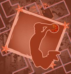 basketball vintage frame vector image