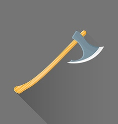 Flat style medieval battle ax icon vector