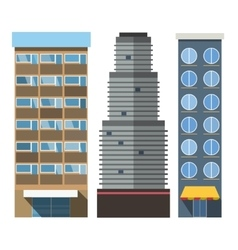Buildings set skyscrappers small house vector