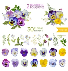 Vintage pansy flowers and leaves vector