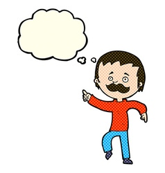 Cartoon man with mustache pointing with thought vector