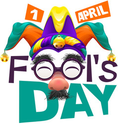 Funny glasses nose april fools day lettering text vector