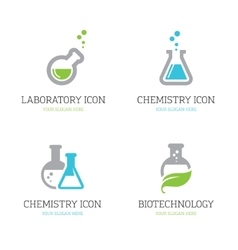 Four flask icons vector image
