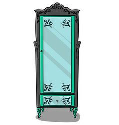 a gray cupboard with turquoise details and a vector image