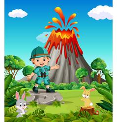 Adventurer in the mountain vector