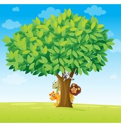 animals under tree vector image vector image