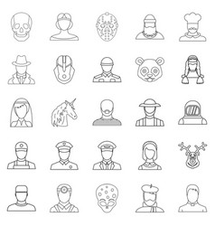 Avatar icons set outline style vector
