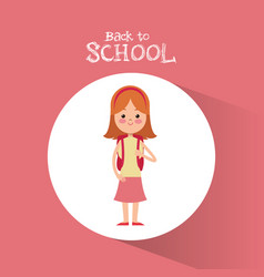 Back to school student girl diadem pink skirt vector