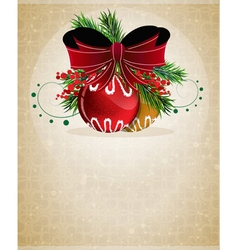 Christmas baubles with red bow vector image vector image