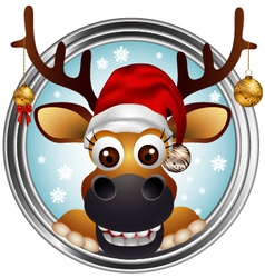 christmas deer head vector image vector image