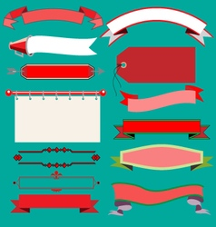 Christmas vintage ribbons and labels vector