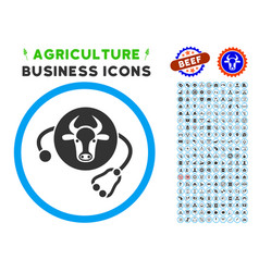 Cow veterinary rounded icon with set vector
