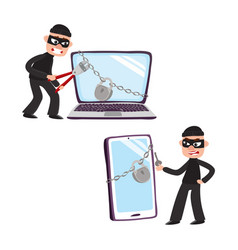 hacker and giant laptop and phone with padlock vector image vector image