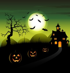 Halloween night green backdrop with castle and vector