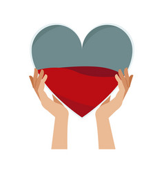 hands holding heart blood donation vector image