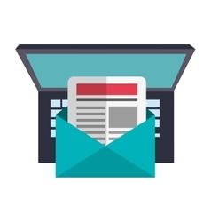 Laptop envelope and blog design vector