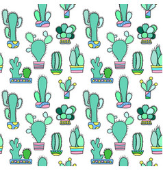 Mint cactus seamless pattern on white vector