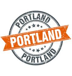 Portland red round grunge vintage ribbon stamp vector