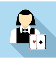 Pretty croupier woman with cards icon flat style vector image