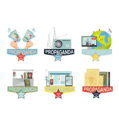 Propaganda icons set vector