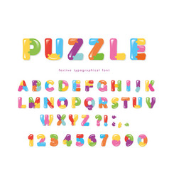 Puzzle font abc colorful creative letters and vector