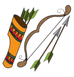 Quiver arrows and bow ancient weapon vector