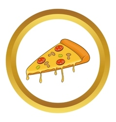 Salami pizza slice icon vector