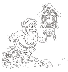 Santa winding up his cuckoo-clock vector