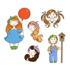 Set of doodle children boy with birdhouse cute vector