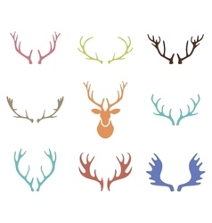 Set of hand drawn deer horns on the white vector image vector image