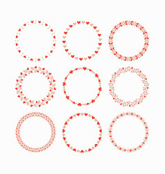 Set of red and pink heart wreaths and circles vector